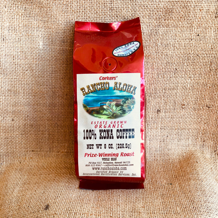 Rancho Aloha's 100% Kona Coffee, Prize-Winning Medium Roast, Organic, Estate grown cofee
