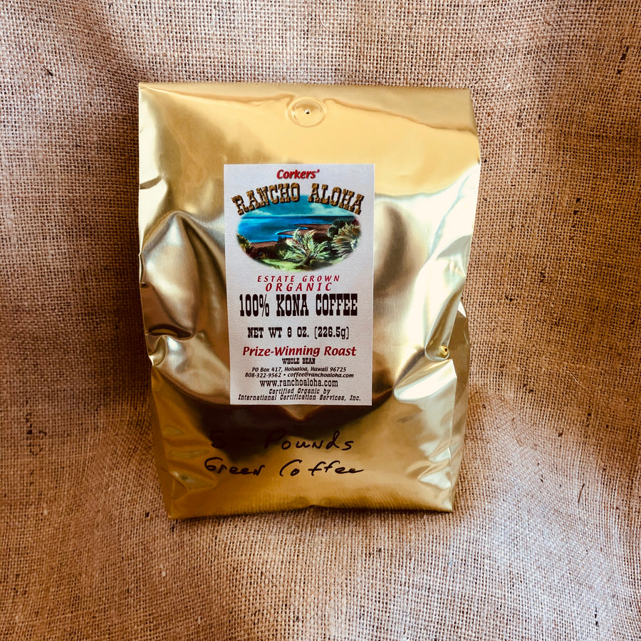 Rancho Aloha's 100% Kona Coffee, green unroasted coffee, Organic, Estate grown cofee