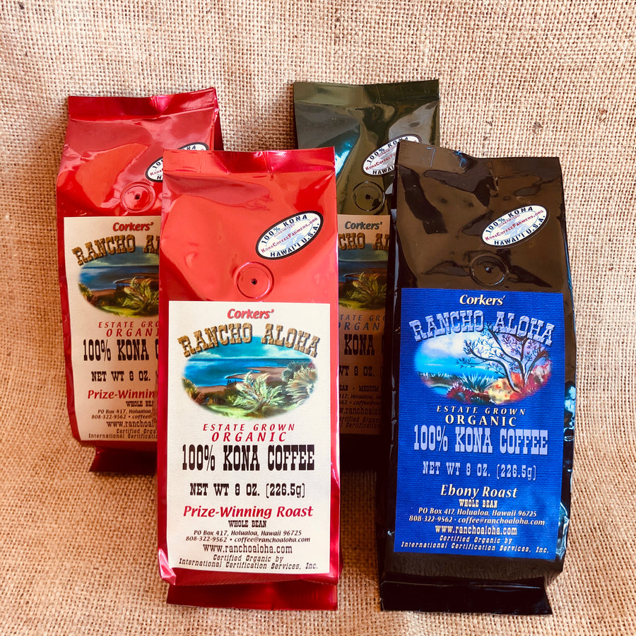 Rancho Aloha's 100% Kona Coffee, Sampler Pack including 2 8-oz bags of prize-winning roast, one ebony roast, and one medium-dark roast, Organic, Estate grown cofee