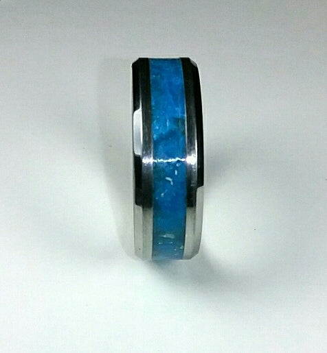 Blue Neon Glow Tungsten Ring