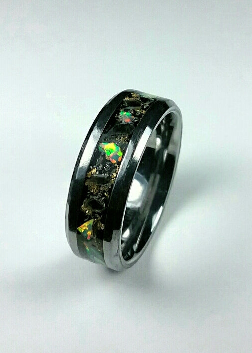 Black Obsidian with White Opal and Gold Tungsten Ring