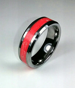 Red Glow Tungsten Ring