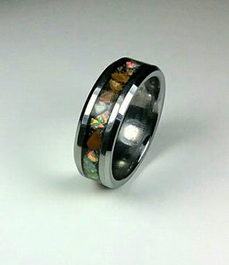 Tiger Eye and White Opal Tungsten Ring
