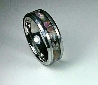 Ruby and White Opal Tungsten Ring
