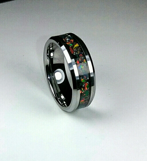 Black Fire Opal Tungsten Ring