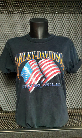 Black Vintage Retro American Flag Uni-Sex T-shirt Springfield 40 chest 1997