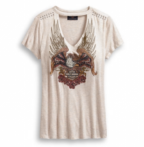 Harley Davidson Women's Studded Eagle & Roses Tee