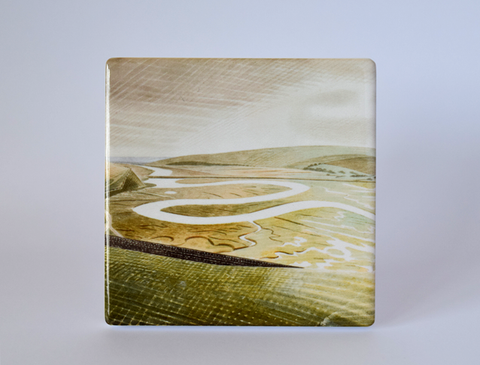 Cuckmere Haven Ceramic Coaster - Design by Eric Ravilious