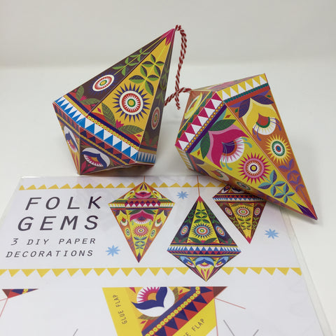 Folk Gems DIY paper decorations pack by Printer Johnson