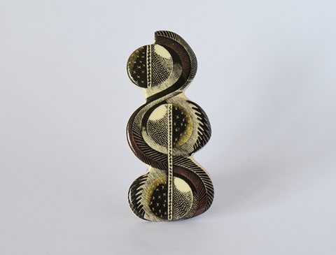 Curved Design Ceramic Brooch, illustration by Eric Ravilious