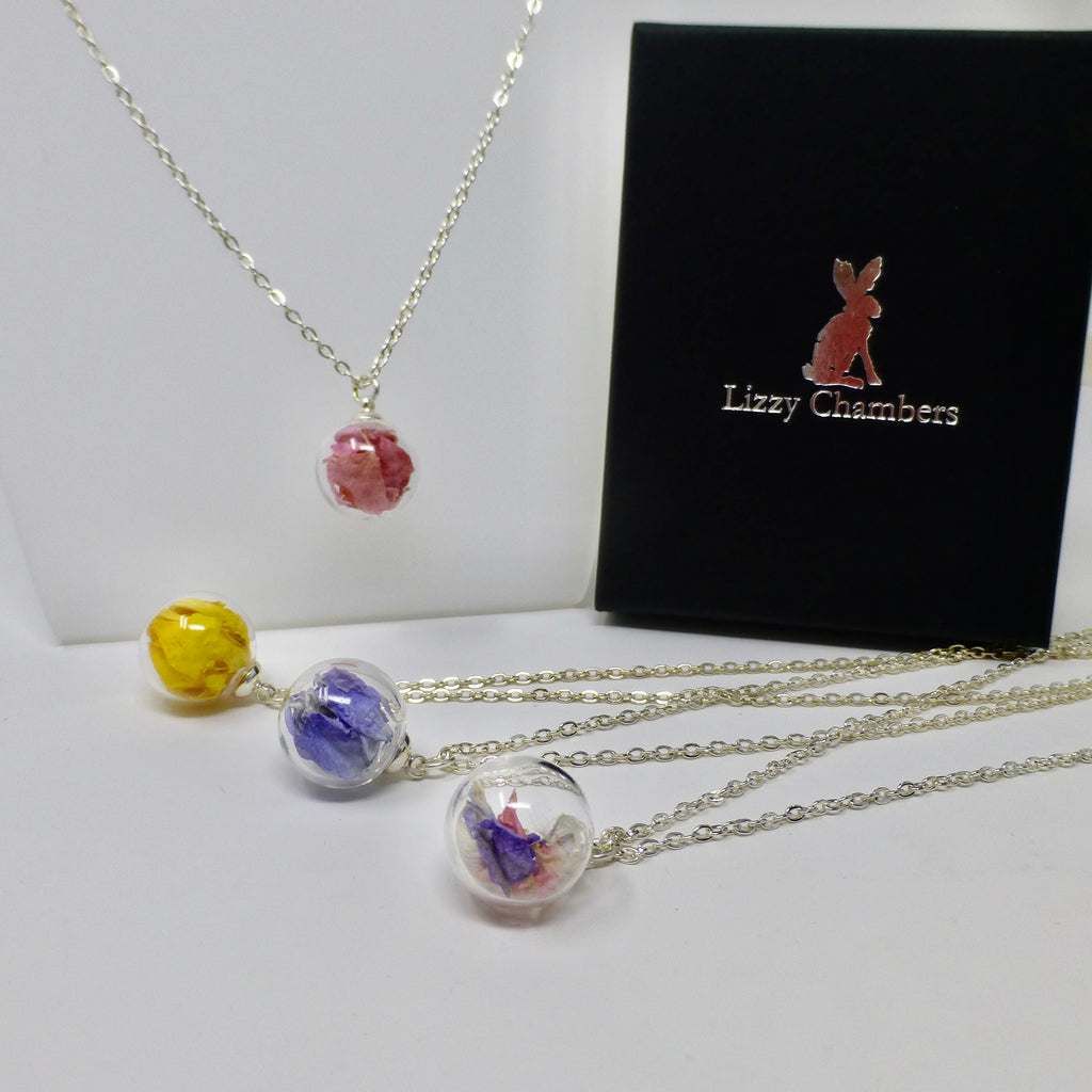 Botanical Glass Globe Necklace by Lizzy Chambers