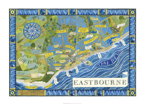 Helen Cann, Eastbourne Map - Limited Edition Giclee Print
