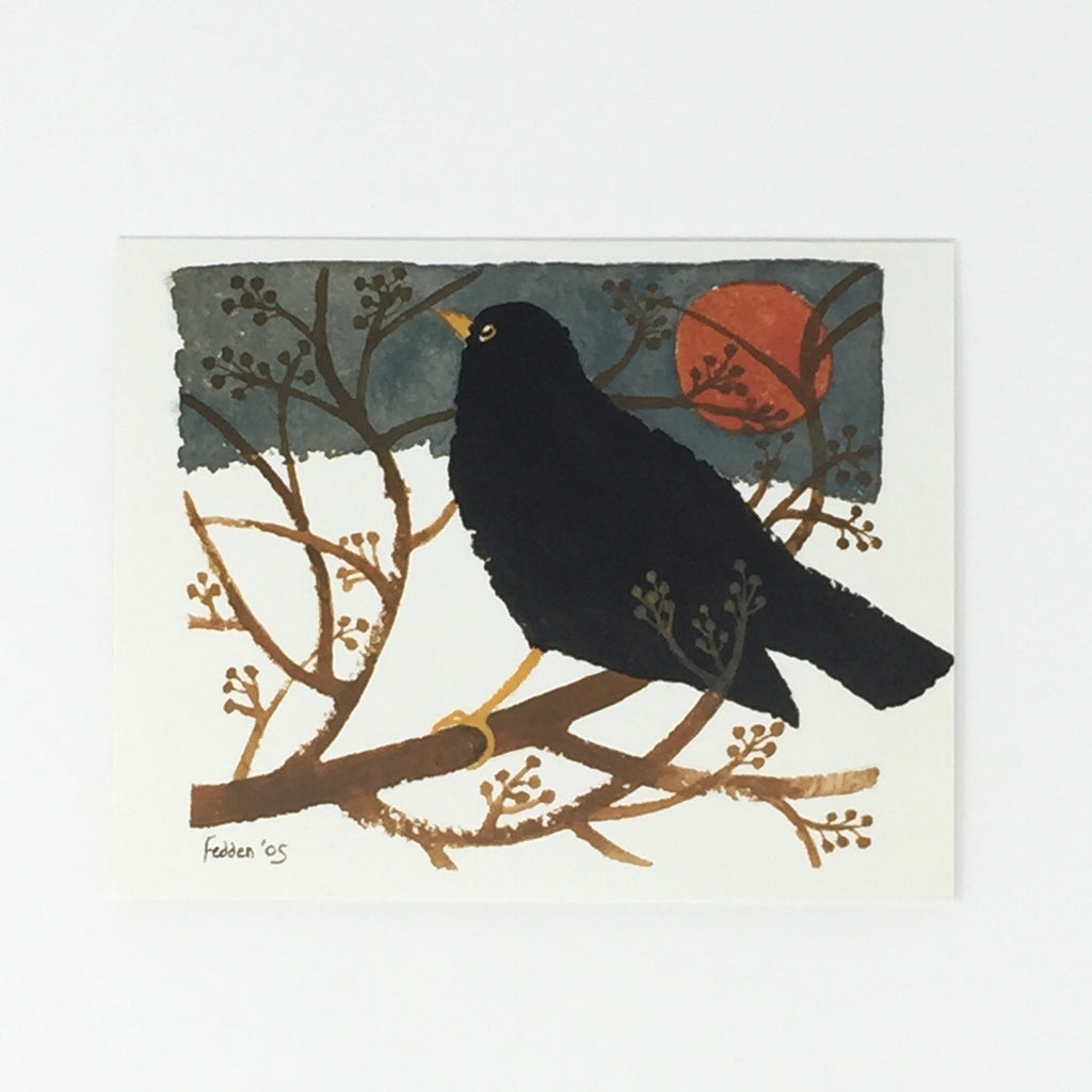 Mary Fedden Christmas Cards - Blackbird in the Snow, 5 card pack