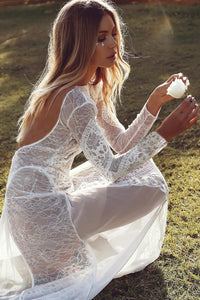 Boho Lace Maxi Dress in White - Babes & Boho