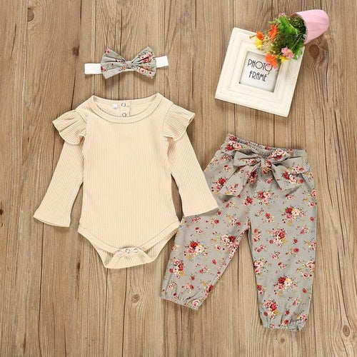 Floral Print Autumn Baby Girl Romper Outfit in Khaki - Babes & Boho