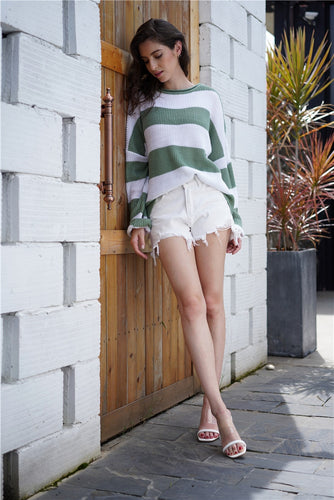 Green and White Striped Long Knitted Sweater | Babes & Boho