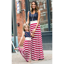 Load image into Gallery viewer, Matching Mother Daughter American Flag Print Maxi Dress - Babes & Boho