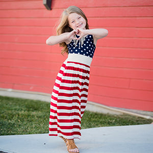 Matching Mother Daughter American Flag Print Maxi Dress - Babes & Boho