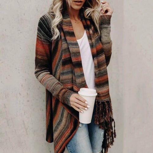 Women's Striped Knitted Open Front Cardigan - Babes & Boho