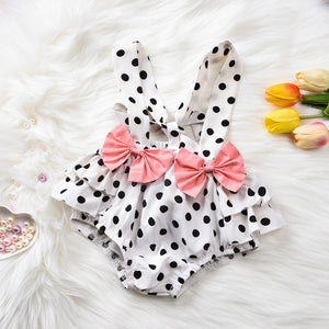Polka Dot Suspender Shorts with Off Shoulder Top - Babes & Boho