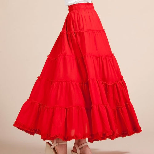 Long Maxi Skirt in Red - Babes & Boho