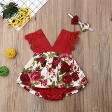 Load image into Gallery viewer, Floral Romper Dress with Headband - Babes & Boho
