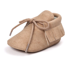 Leather Baby Moccasins in Khaki - Babes & Boho