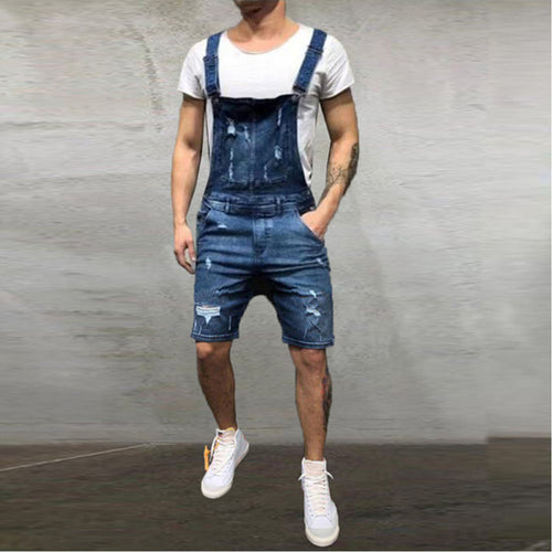 Men's Oversize Ripped Denim Jean Overalls in Blue - Babes & Boho