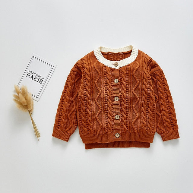 Knitted Baby Sweater Diamond Pattern - Babes & Boho