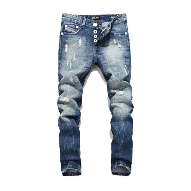 Men's Ripped Distressed Denim Jeans - Babes & Boho