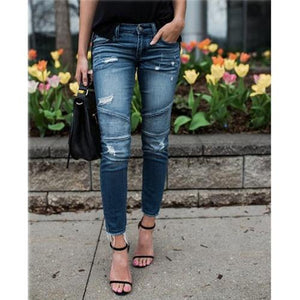 Vintage Mid Waist Ripped Skinny Jeans - Babes & Boho
