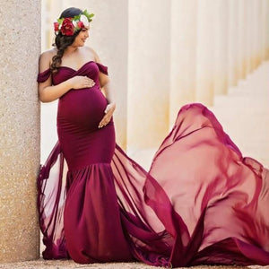 Off Shoulder Chiffon Maternity Gown - Babes & Boho