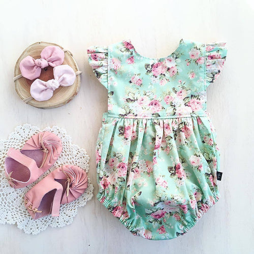 Baby Girl Romper in Blue Floral - Babes & Boho