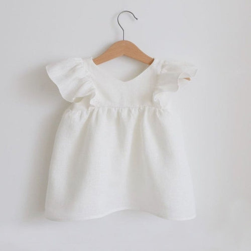 Organic Cotton Short Sleeve Dress - white - Babes & Boho