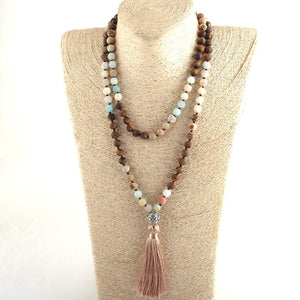 Natural Mala Stone Necklace - Babes & Boho