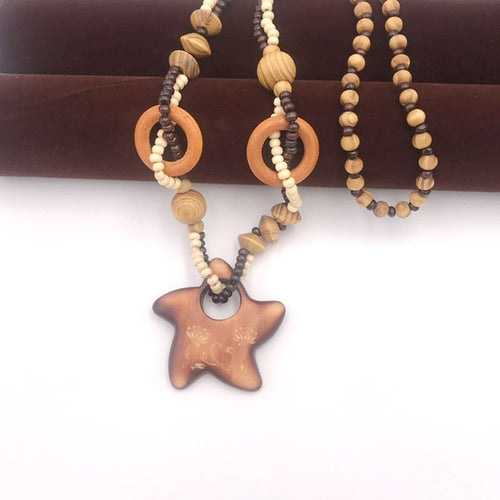 Hand Carved Wooden Starfish Necklace - Babes & Boho
