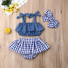 Load image into Gallery viewer, Blue Denim and Checkered Baby Girl Outfit Set - Babes & Boho