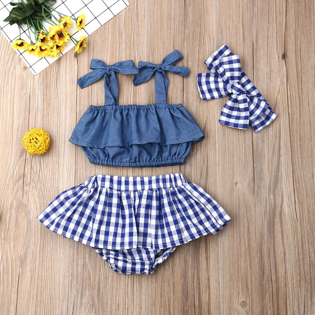 Blue Denim and Checkered Baby Girl Outfit Set - Babes & Boho