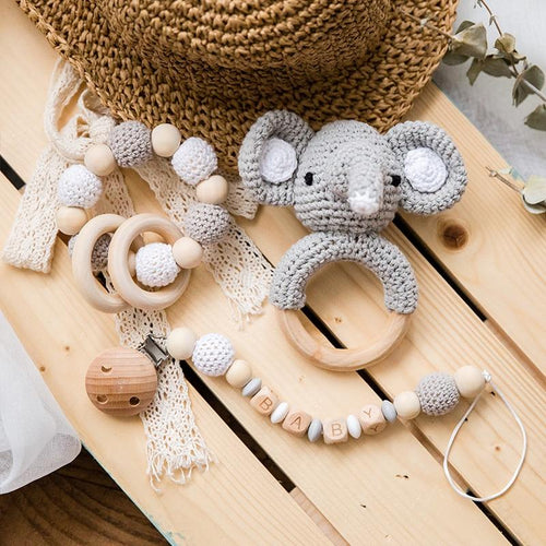 Crocheted Elephant Wooden Teething Ring and Rattle - Babes & Boho