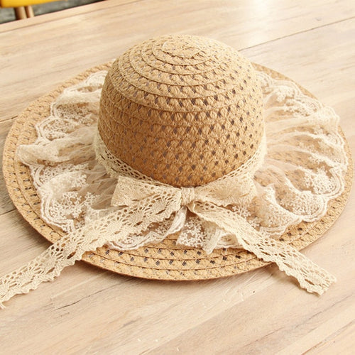 Mother-Daughter Wide Brim Straw Hat with Lace - Bold & Boho
