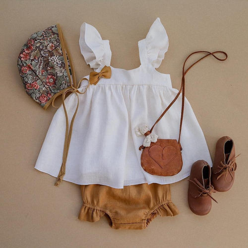 Organic Cotton Baby Dress in White - Babes & Boho