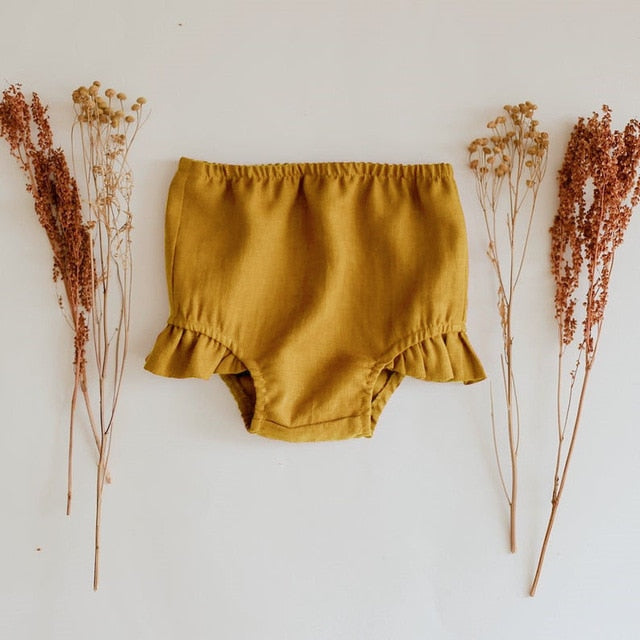 Organic Cotton Baby Shorts in Yellow - Babes & Boho