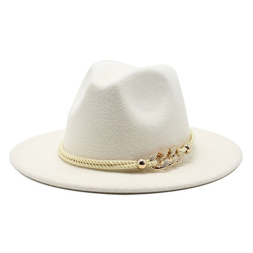 Wide Brim Fedora in White - Babes & Boho