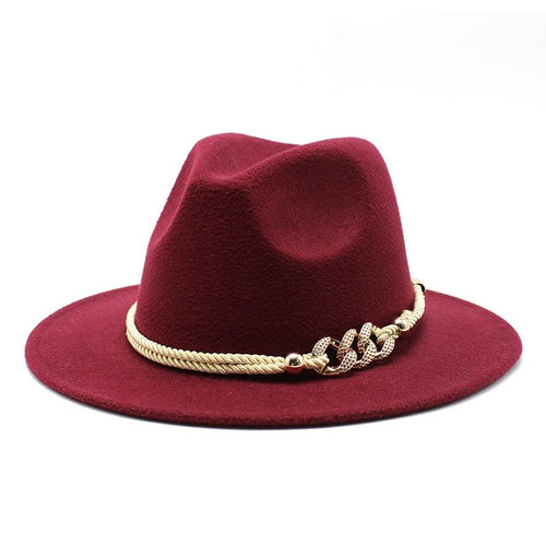 Wide Brim Fedora in Wine Red - Babes & Boho