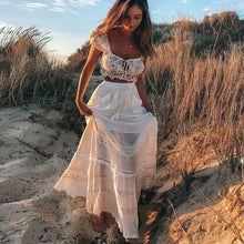 Load image into Gallery viewer, Bohemian White Patchwork Maxi Skirt - Babes & Boho