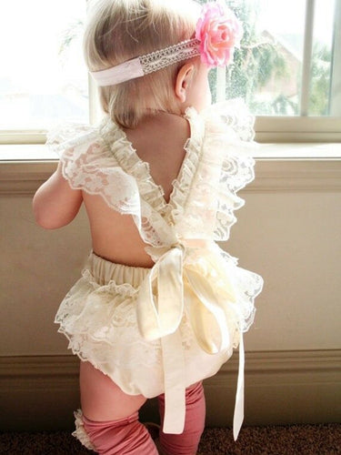 Short Sleeve Ruffled Lace Romper for Baby Girl - Babes & Boho