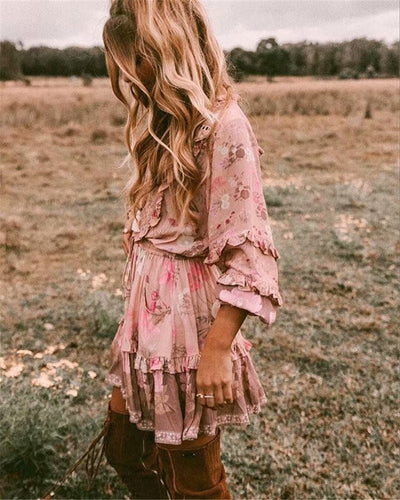 Ruffled Floral Mini Dress - Babes & Boho