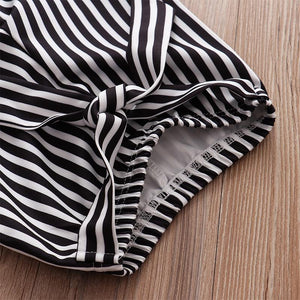 Black and White Pinstriped Pants Romper Outfit - Babes & Boho