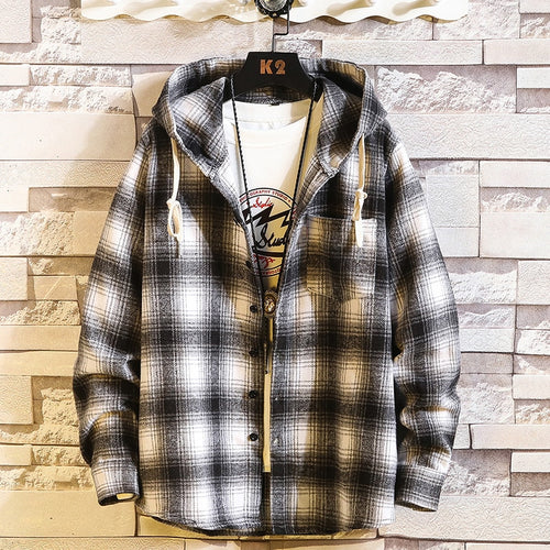 Hooded Plaid Long Sleeve Button Up - Babes & Boho