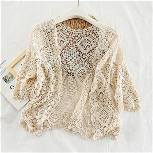 Women's Knitted Lace Open Cardigan in Apricot - Babes & Boho